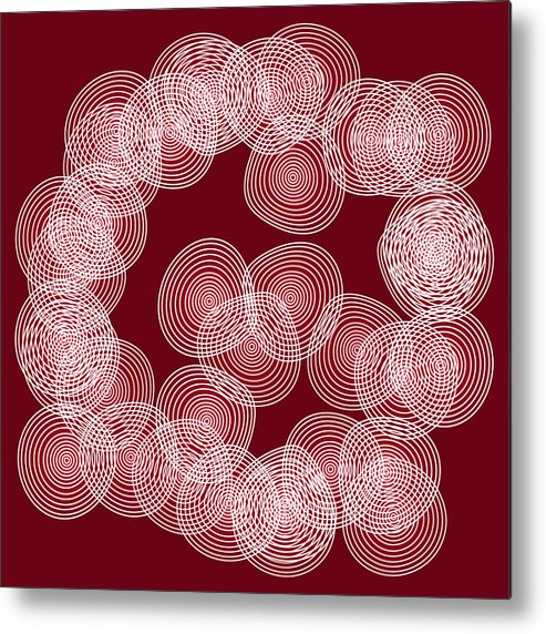 Red Metal Print featuring the drawing Red Abstract Circles by Frank Tschakert