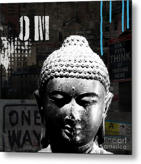 Abstract Metal Print featuring the painting Urban Buddha by Linda Woods