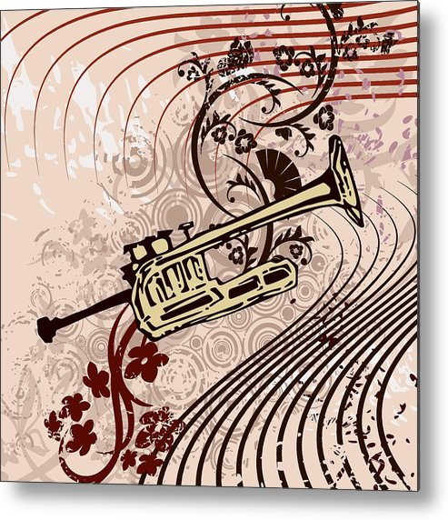 Vector Metal Print featuring the drawing Musical Backgrounds With Instraments by ClipartDesign
