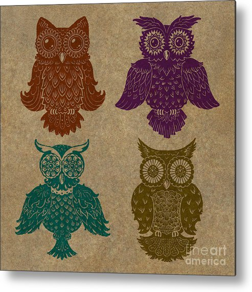 Owls Metal Print featuring the painting 4 Sophisticated Owls Colored by Kyle Wood