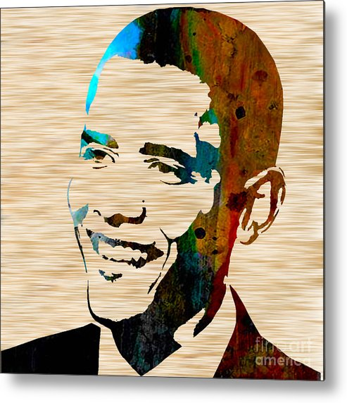 President Barack Obama Paintings Mixed Media Mixed Media Mixed Media Metal Print featuring the mixed media Barack Obama by Marvin Blaine