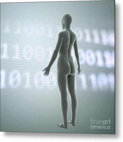 3d Visualisation Metal Print featuring the photograph Digital Being by Science Picture Co