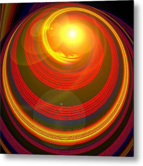 Artdeco Metal Print featuring the digital art Red Energy-spiral by Ramon Labusch