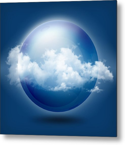 3d Metal Print featuring the digital art A Glass Transparent Ball With Cloud by Thanes