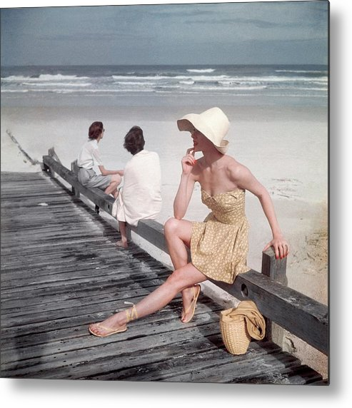 Accessories Metal Print featuring the photograph A Model Sitting On A Ramp by Serge Balkin