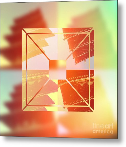 Pagoda Metal Print featuring the digital art Abstract Five-storied Pagoda 1 by Beverly Claire Kaiya