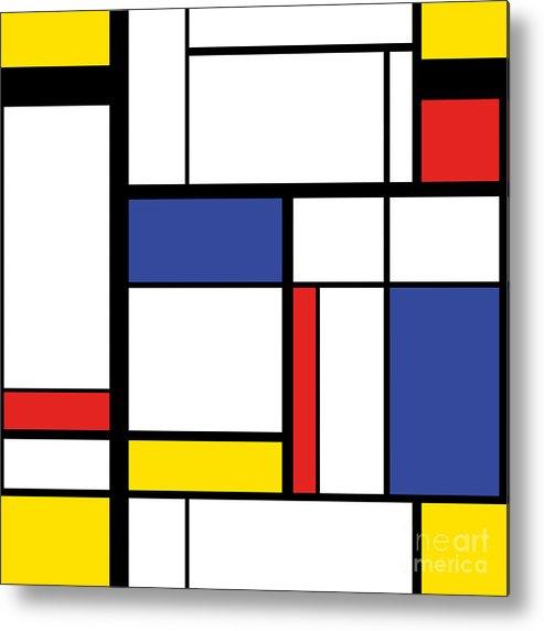 Repetition Metal Print featuring the digital art Abstract Modern Painting In Mondrian by Lars Poyansky