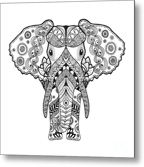 Symbol Metal Print featuring the digital art Adult Antistress Coloring Page. Black by Palomita