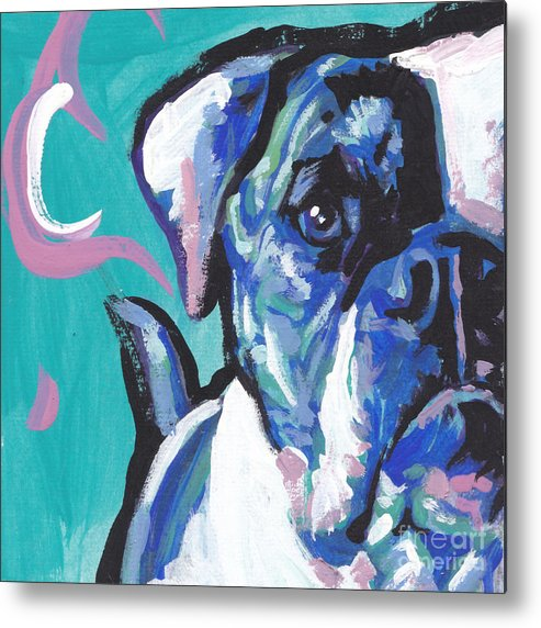 American Bulldog Metal Print featuring the painting American Bully Boy by Lea S