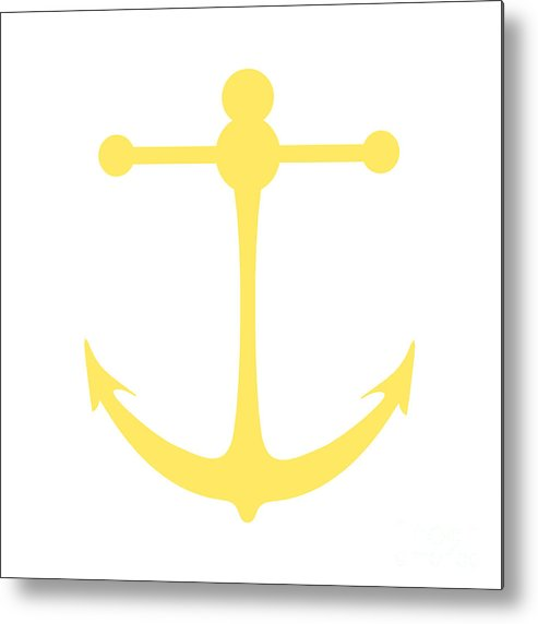 Graphic Art Metal Print featuring the digital art Anchor In Yellow And White by Jackie Farnsworth