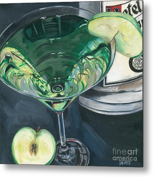 Apple Metal Print featuring the painting Apple Martini by Debbie DeWitt