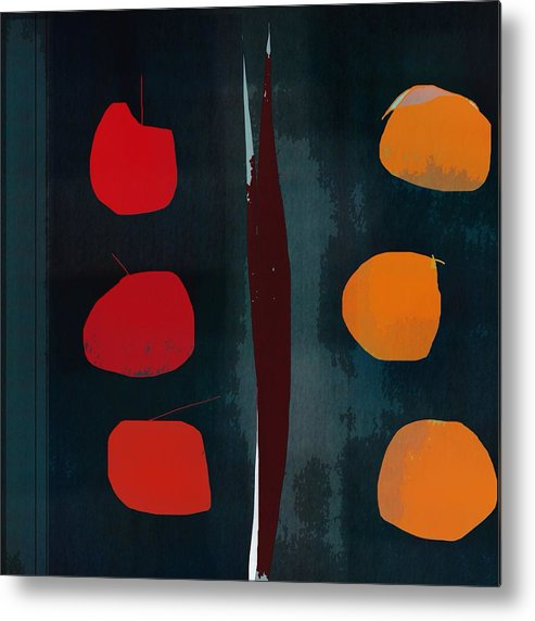 Abstract Metal Print featuring the digital art Apples And Oranges by John Allen