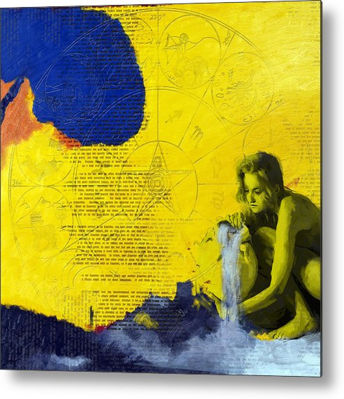Aquarius Metal Print featuring the painting Aquarius Abstract by Corporate Art Task Force