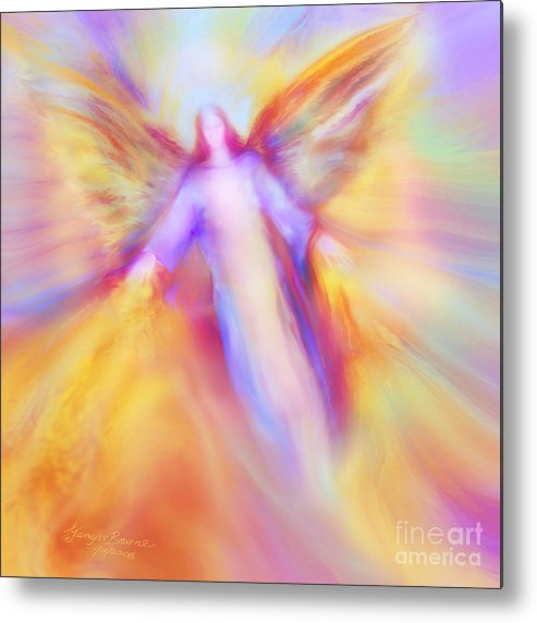 Archangel Uriel Metal Print featuring the painting Archangel Uriel In Flight by Glenyss Bourne