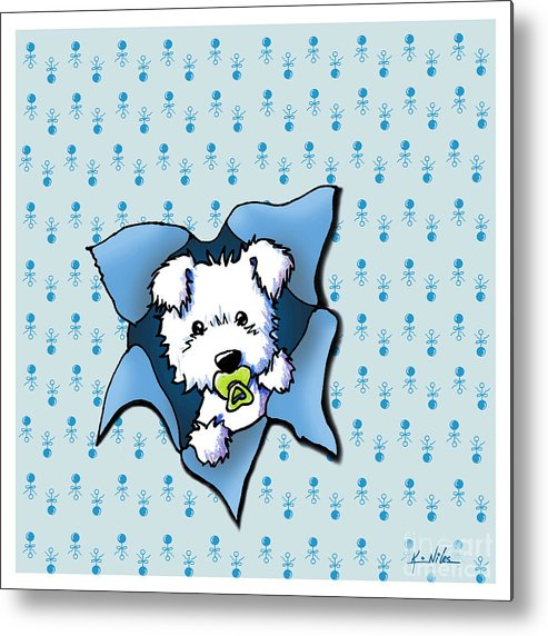 New Baby Art Metal Print featuring the drawing Baby Westie Blast by Kim Niles