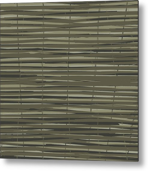 Pattern Metal Print featuring the digital art Bamboo Fence - Gray And Beige by Saya Studios