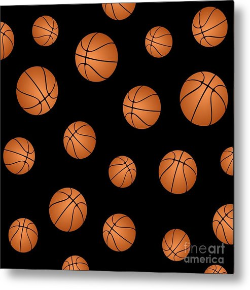 Basketball Metal Print featuring the digital art Basketball Pattern by Li Or