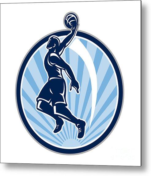 Basketball Metal Print featuring the digital art Basketball Player Dunk Ball Retro by Aloysius Patrimonio