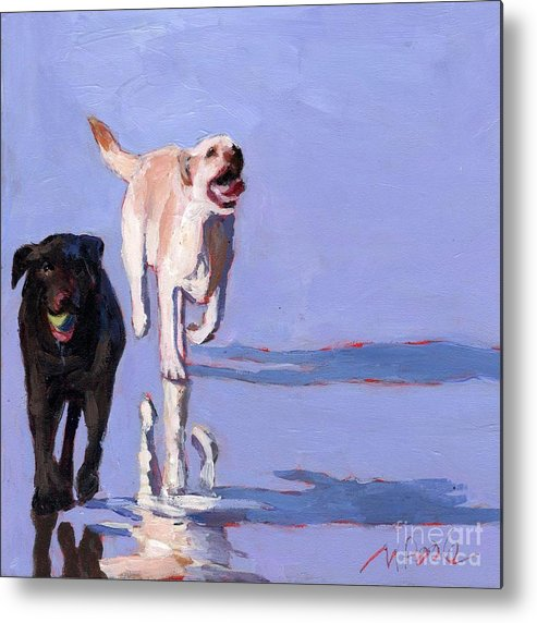 Dogs Metal Print featuring the painting Beachball by Molly Poole