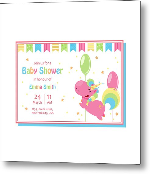 picture relating to Baby Shower Card Printable referred to as Appealing Boy or girl Shower Card Template With Lovely Unicorn. Vector Cartoon Example For Birthday Invitation Steel Print