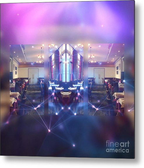 Beautiful Interior Metal Print featuring the digital art Beautiful Interiors Of A French Restaurant by Beverly Claire Kaiya