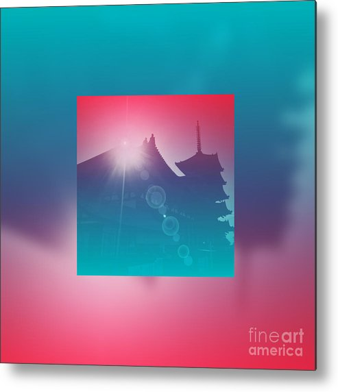 Pagoda Metal Print featuring the digital art Beautiful Pagoda And Temple Silhouette At Sunrise by Beverly Claire Kaiya