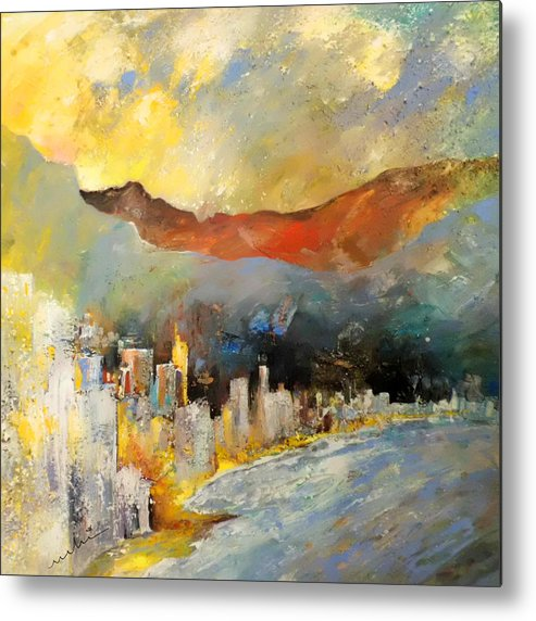 Landscapes Metal Print featuring the painting Benidorm 01 by Miki De Goodaboom