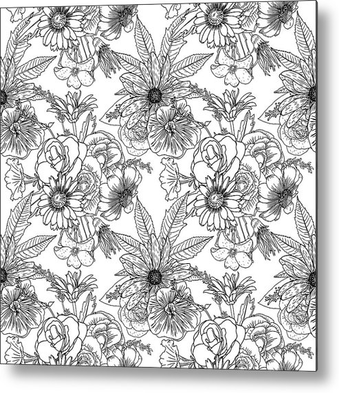 Black And White Flower Pattern For Coloring. Endless Floral Drawing ...