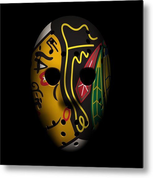 Blackhawks Metal Print featuring the photograph Blackhawks Goalie Mask by Joe Hamilton
