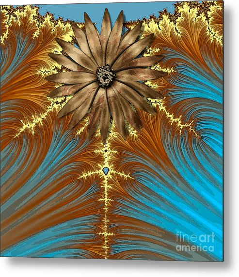 Fractal Metal Print featuring the painting Blue And Brown Synergy by Saundra Myles