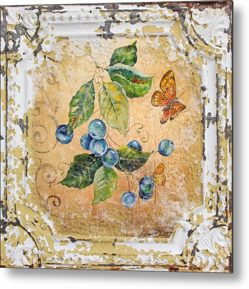 Acrylic Painting Metal Print featuring the painting Blue Berries And Butterfly On Vintage Tin by Jean Plout