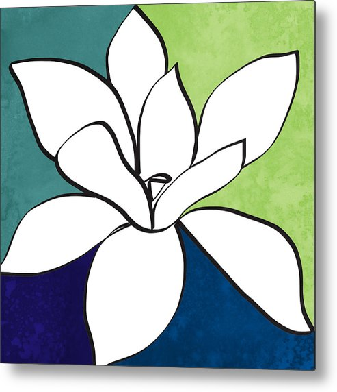 Magnolia Metal Print featuring the painting Blue Magnolia 1- Floral Art by Linda Woods