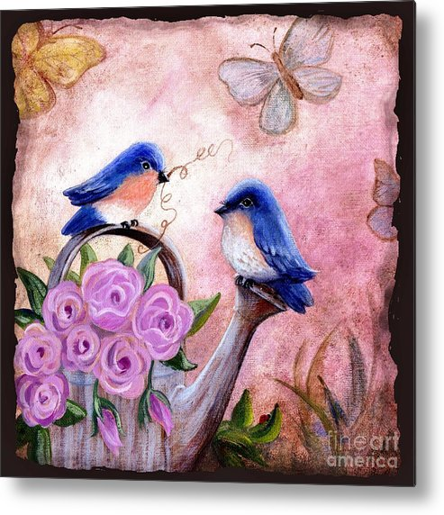 Shabby Chic Metal Print featuring the painting Bluebirds And Butterflies by Marilyn Smith