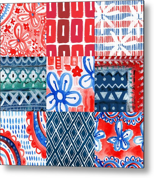 Americana Metal Print featuring the painting Boho Americana- Patchwork Painting by Linda Woods