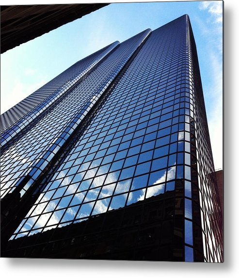 Metal Print featuring the photograph Boston Blue Glass by Mark Valentine