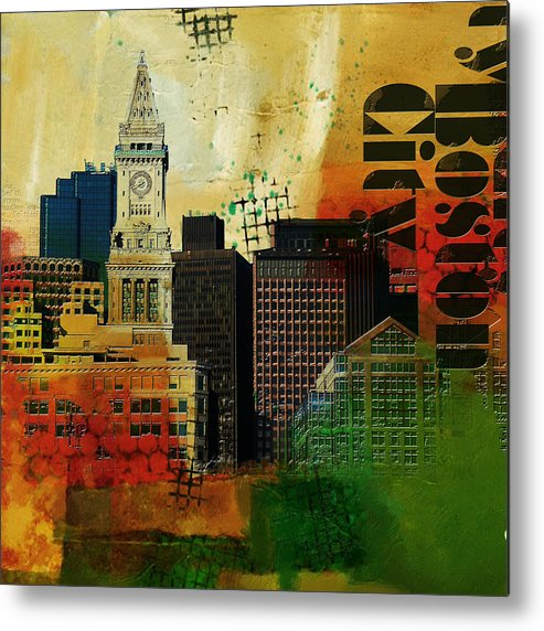 Boston City Metal Print featuring the painting Boston City Collage 2 by Corporate Art Task Force