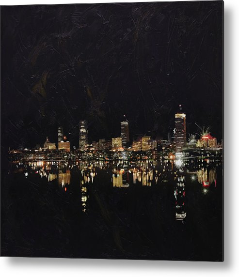 Boston City Metal Print featuring the painting Boston City Skyline 2 by Corporate Art Task Force