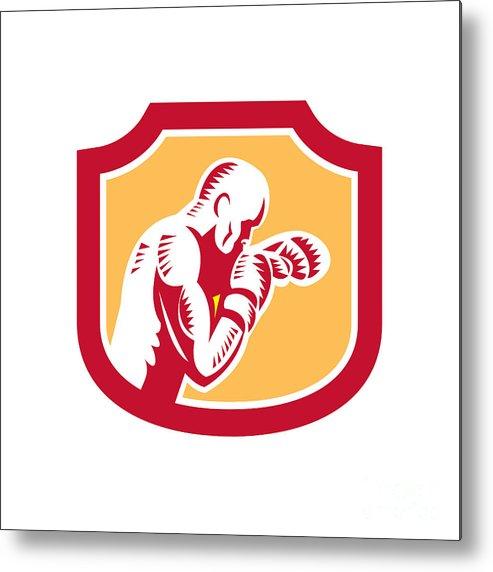 Boxer Metal Print featuring the digital art Boxer Boxing Jabbing Punch Side Shield Retro by Aloysius Patrimonio
