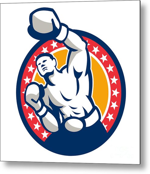 Boxer Metal Print featuring the digital art Boxer Boxing Punching Jabbing Retro by Aloysius Patrimonio