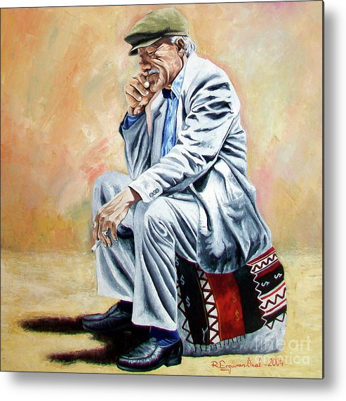 Figurative Metal Print featuring the painting Break For Smoking - Apeadero Para Fumar by Rezzan Erguvan-Onal