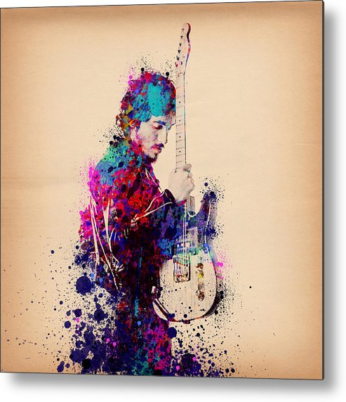Music Metal Print featuring the painting Bruce Springsteen Splats And Guitar by Bekim M