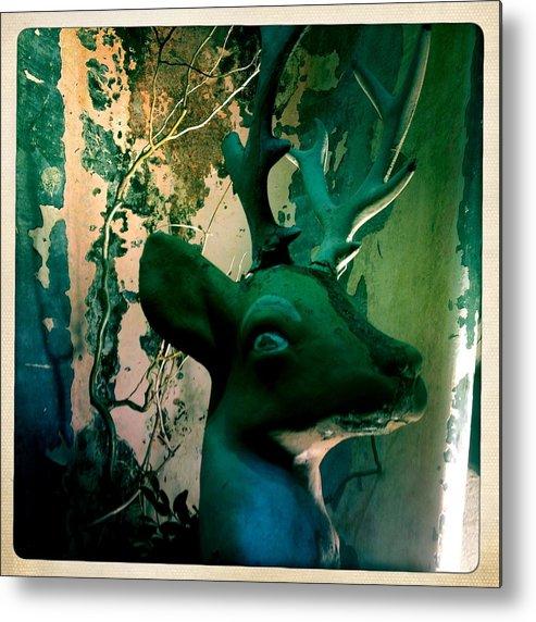Retro Metal Print featuring the digital art Buck A Deer by Jen Brooks Art