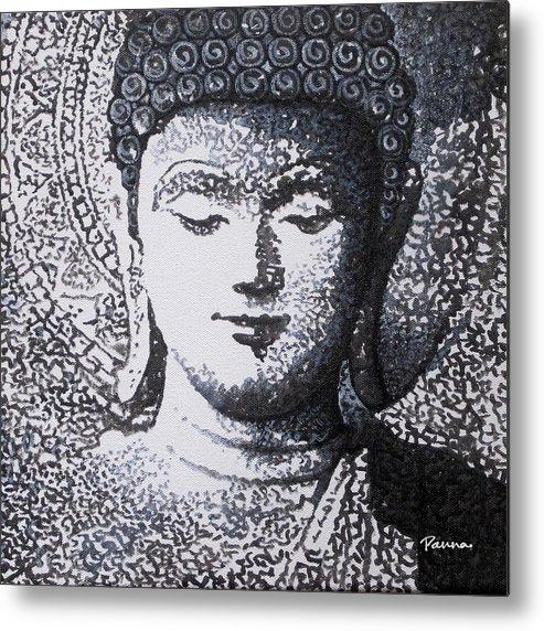 Black & White Buddha Metal Print featuring the painting Buddha V by Panna Paintings