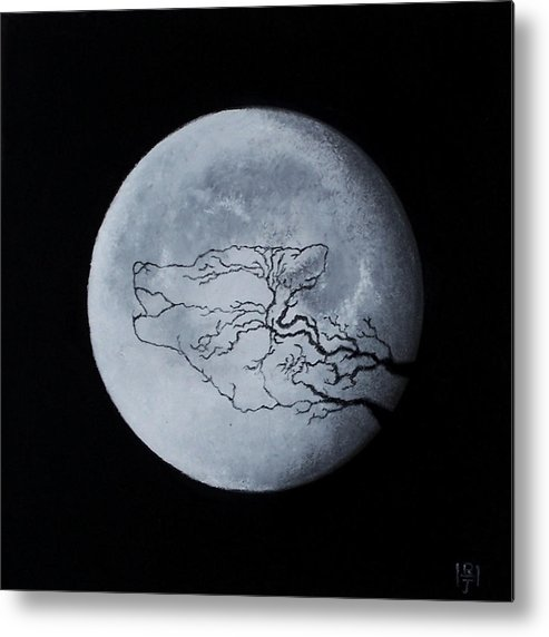Wolf Wild Calling Moon Metal Print featuring the painting Call Of The Wild by John Hodgson