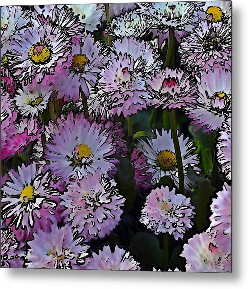 Pink Daisies Metal Print featuring the photograph Cartoon Daisies by Sharon Lisa Clarke
