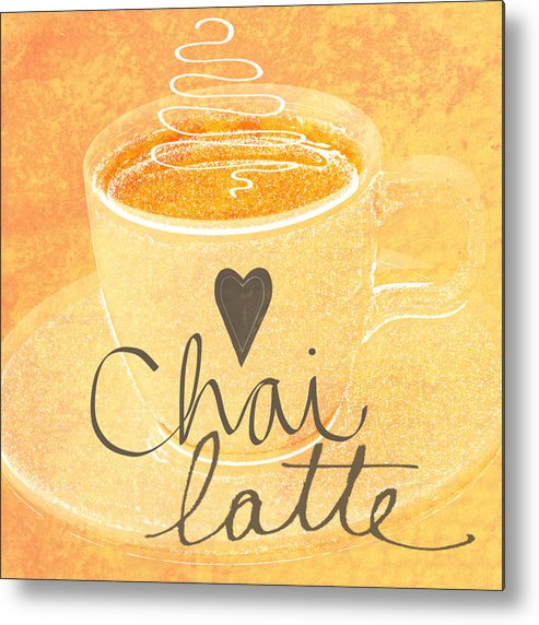 Chai Metal Print featuring the painting Chai Latte Love by Linda Woods