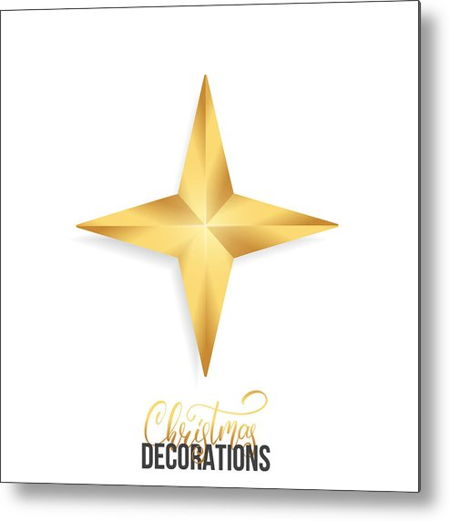 9b821aa5f1a4 Art Metal Print featuring the drawing Christmas Star. Shiny Gold Realistic  Star. Christmas Decoration