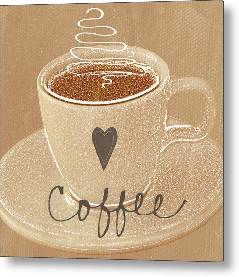 Coffee Metal Print featuring the painting Coffee Love In Mocha by Linda Woods