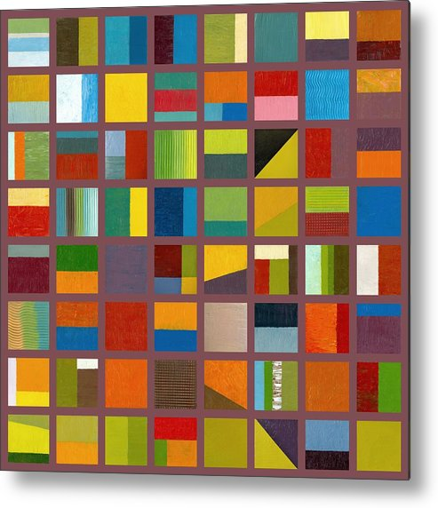 Abstract Metal Print featuring the painting Color Study Collage 65 by Michelle Calkins