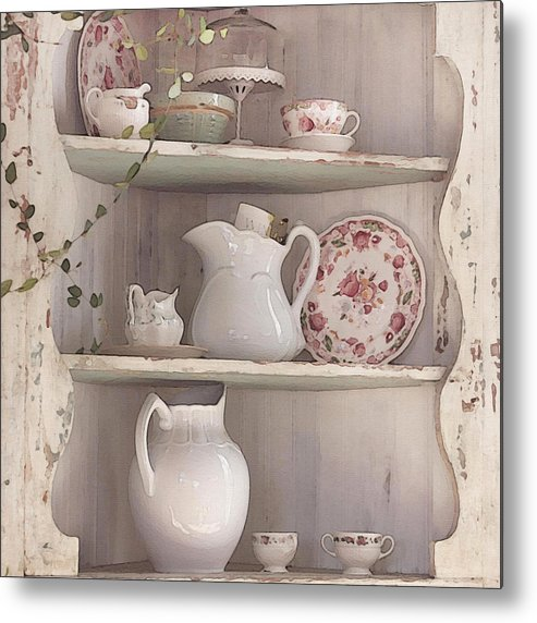 Shabby Chic Metal Print featuring the photograph Corner Cupboard by Art Block Collections